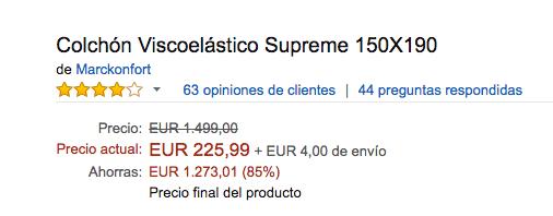 cochon 200 amazon - Tarifa error: Colchón viscolástico por 225€ - Promoción única