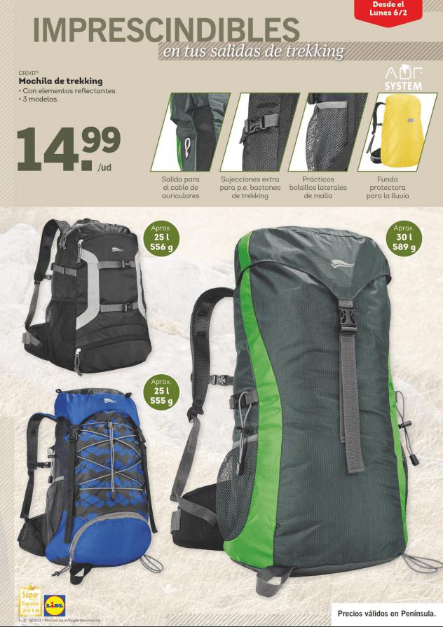 mochilas - Especial Trekking en Lidl a partir del 6 de febrero