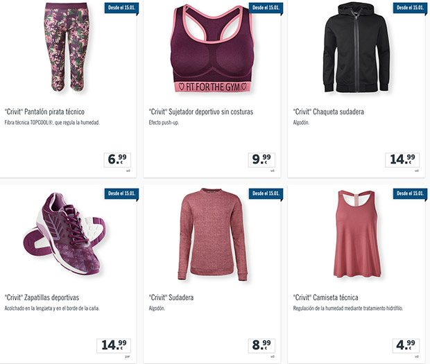 ropa crivit - Catálogo LIDL del 18 al 24 Enero