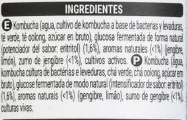 ingredientes kombucha Mercadona