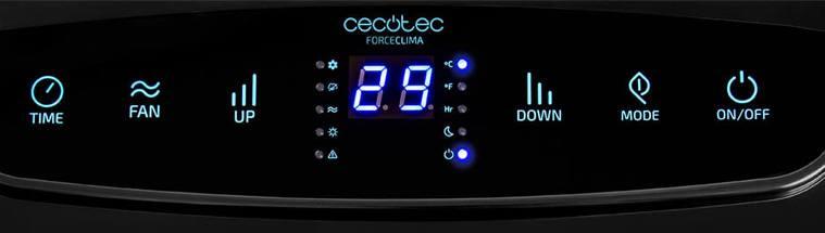 panel control aire acondicionado cecotec - Aire Acondicionado Forceclima 12250 SmartHeating de Cecotec