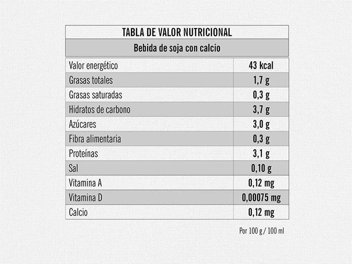 valor nutricional bebida soja - Bebida de soja LIDL