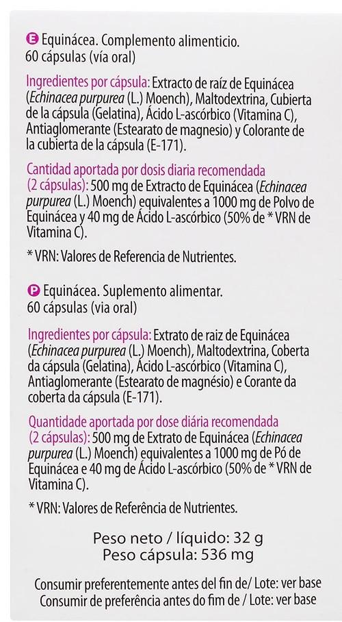 ingredientes equinacea - Equinácea Mercadona Deliplus