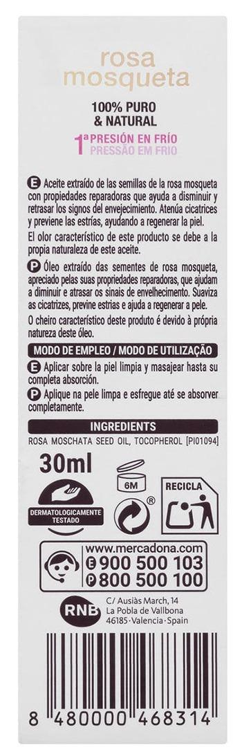ingredientes modo empleo - Rosa mosqueta Mercadona