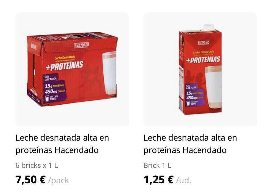 precio leche - Leche desnatada alta en proteínas de Mercadona
