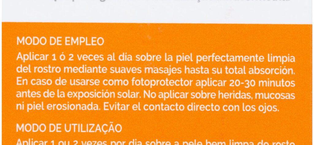 modo empleo 1024x473 - Crema facial con vitamina C y FPS 50+ Mercadona