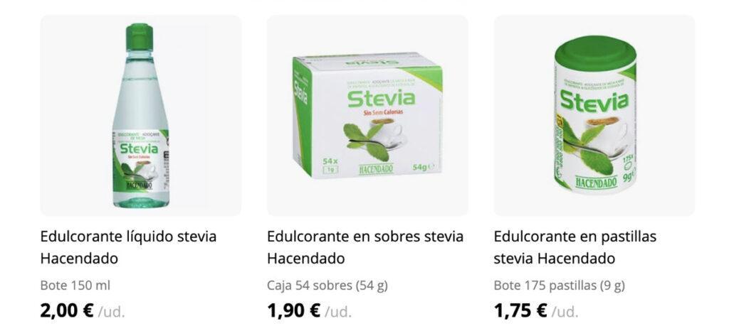 otros formatos de stevia 1024x473 - Stevia Mercadona