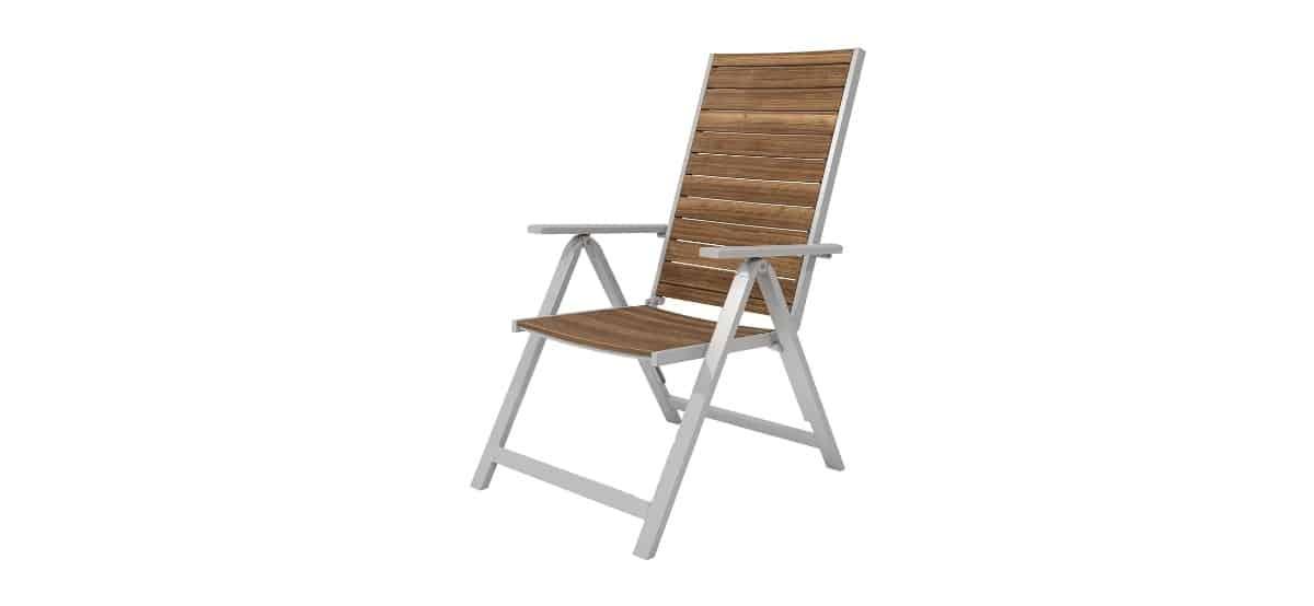 silla plegable de madera y aluminio con respaldo alto lidl