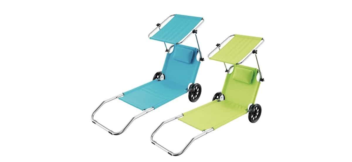 tumbona de playa convertible en carrito de transporte crivit en lidl