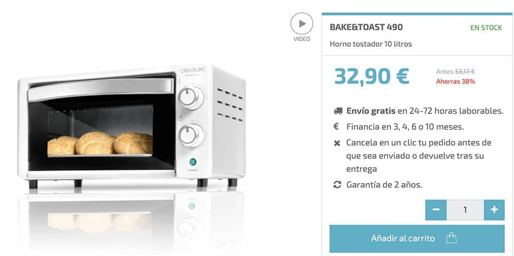 horno sobremesa cecotec - Horno de sobremesa Cecotec Bake & Toast 490 en Aldi